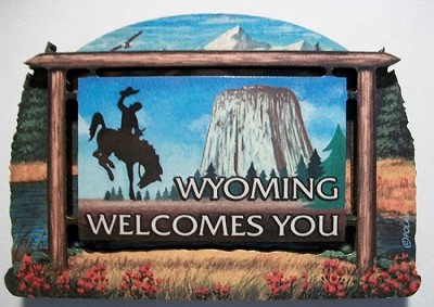 Wyoming State Welcome Sign Artwood Magnet Design 14