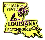 Louisiana State Outline Fridge Magnet Blue/Yellow (COPY)