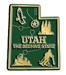 Utah the Beehive State Map Fridge Magnet