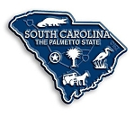 South Carolina the Palmetto State Map Fridge Magnet