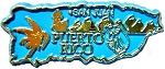 Puerto Rico Outline Souvenir Fridge Magnet