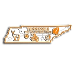 Tennessee the Volunteer State Map Fridge Magnet