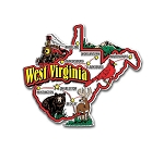 West Virginia Jumbo State Map Fridge Magnet