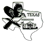 Texas State Outline with Mockingbird Fridge Magnet