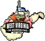 West Virginia Classic Outline Artwood Jumbo Fridge Magnet