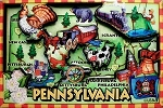 Pennsylvania Cartoon Map Fridge Magnet