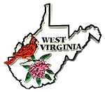 West Virginia State Outline with Cardinal and Flowers Fridge Magnet
