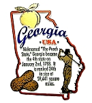 Georgia Outline Montage Fridge Magnet