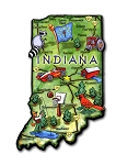 Indiana The Hoosier State Artwood Jumbo Fridge Magnet