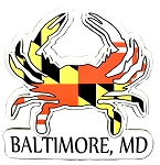 Baltimore Maryland Flag Crab Shaped Artwood Fridge Magnet