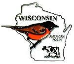 Wisconsin State Outline with American Robin Fridge Magnet
