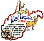West Virginia The Mountain State Outline Montage Fridge Magnet