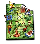 Utah State Outline Artwood Jumbo Fridge Magnet