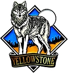 Yellowstone National Park with Wolf Fridge Magnet