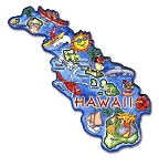 Hawaii State Outline Artwood Jumbo Magnet