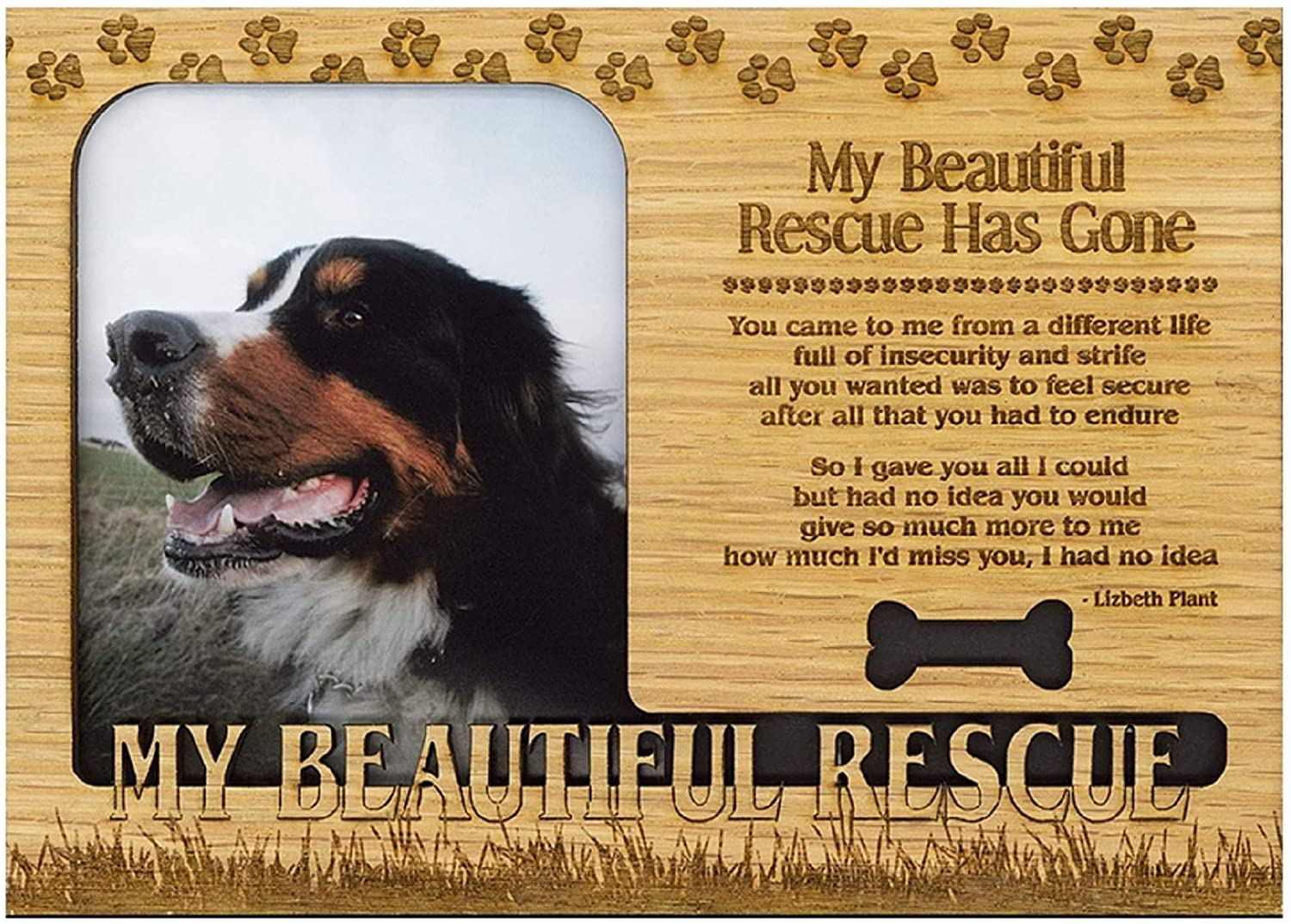 Bernese Mountain Dog Engraved Wood Picture Frame Magnet