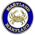 Maryland Round Magnet with Crab Fridge Magnet