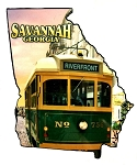 Savannah Georgia with Trolley Fridge Magnet