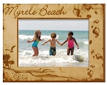 Myrtle Beach South Carolina Footprints Laser Engraved Wood Picture Frame