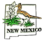 New Mexico State Outline with Greater Roadrunner and Flowers Fridge Magnet
