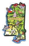 Mississippi State Outline Artwood Jumbo Fridge Magnet