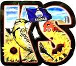 Kansas The Sunflower State Artwood Initial Fridge Magnet