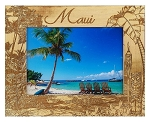 Maui Hawaii Laser Engraved Wood Picture Frame (5 x 7)