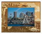 Seattle Washington Laser Engraved Wood Picture Frame