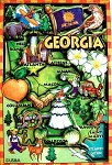 Georgia Cartoon Map Fridge Magnet