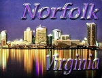 Norfolk Virginia Night Scene Highlight Fridge Magnet