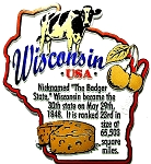 Wisconsin the Badger State Outline Montage Fridge Magnet