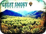 The Great Smoky Mountains with Hot Air Balloon Photo Fridge Magnet
