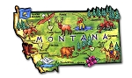 Montana the Treasure State Artwood Jumbo Fridge Magnet