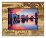 Florida Laser Engraved Wood Picture Frame (5 x 7)