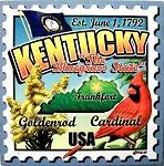 Kentucky The Bluegrass State Artwood Postage Stamp Fridge Magnet