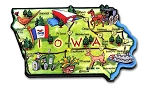 Iowa the Hawkeye State Artwood Jumbo Fridge Magnet