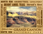 Grand Canyon National Park Points of Interest Engraved Wood Picture Frame