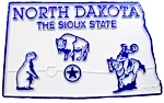 North Dakota The Sioux State Map Fridge Magnet