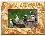 Alaska with Puffin Birds Laser Engraved Wood Picture Frame (5 x 7)
