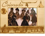 Colorado with Horses Laser Engraved Wood Picture Frame