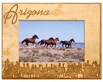 Arizona with Horses Laser Engraved Wood Picture Frame (5 x 7)