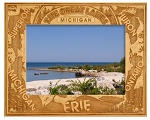 The Great Lakes Michigan Engraved Wood Picture Frame
