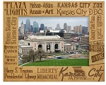 Kansas City Missouri Landmarks Laser Engraved Wood Picture Frame (5 x 7)