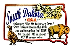 South Dakota the Mt. Rushmore State Outline Montage Fridge Magnet