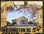 Washington D.C. Montage Laser Engraved Wood Picture Frame (5 x 7)