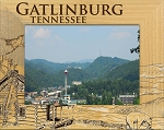 Gatlinburg Tennessee with Log Cabin Laser Engraved Wood Picture Frame