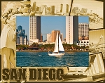 San Diego California Laser Engraved Wood Picture Frame