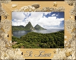 St. Lucia Laser Engraved Wood Picture Frame (5 x 7)