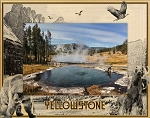 Yellowstone National Park With Bear, Moose and Eagle Laser Engraved Wood Picture Frame