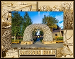 Jackson Hole Wyoming with Elk Laser Engraved Wood Picture Frame (5 x 7)